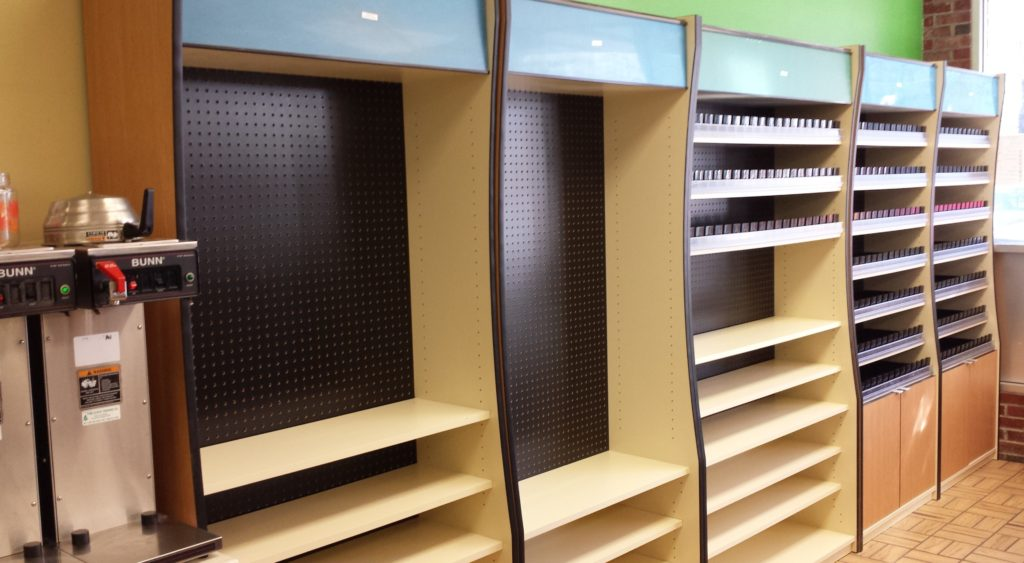 Empty tobacco racks
